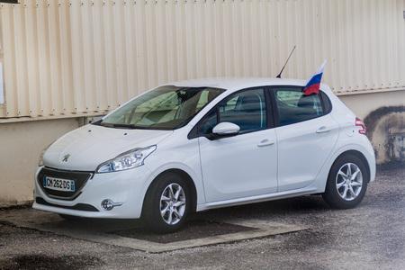 KOUROU, FRENCH GUIANA - AUGUST 4, 2015: Car at Soyuz Launch Complex at Centre Spatial Guyanais (Guiana Space Centre) in Kourou, French Guiana. Equiped with russian falg.