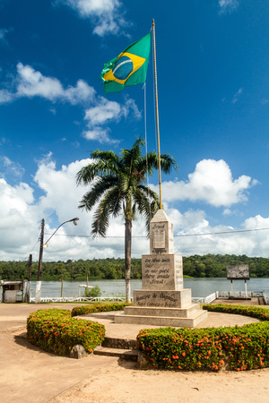 Monument to the northernmost point in Brazil in Oiapoque town. This is actually not the correct one.