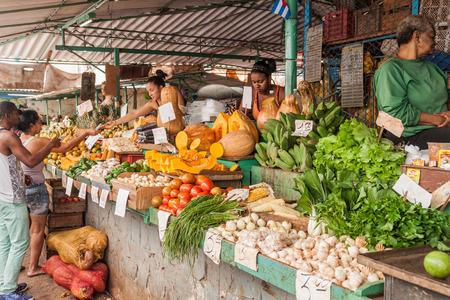 HAVANA, CUBA - FEB 20, 2016: Fruits and vgetables market in Havana Centro neighborhood.
