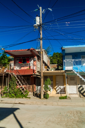 Colorful houses and mess of wires in Guantanamo, Cuba