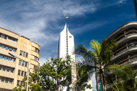 antioquia: MEDELLIN, COLOMBIA - SEPTEMBER 1, 2015: Modern buildings in the center of Medellin.