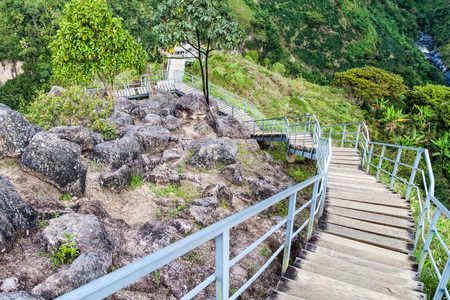 Stair leading to El Chaquira archeological site near San Agustin, Colombia Stock Photo