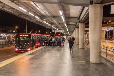 BOGOTA, COLOMBIA - SEPTEMBER 24, 2015: Station of Transmilenio bus system in Bogota.