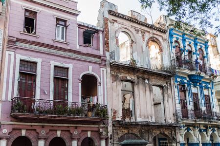 Dilapidated houses facing Paseo de Marti (Prado) avenue in Havana