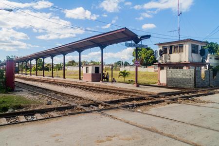 GUANTANAMO, CUBA - FEB 3, 2016: Platform of the railway station in Guantanamo, Cuba Editorial