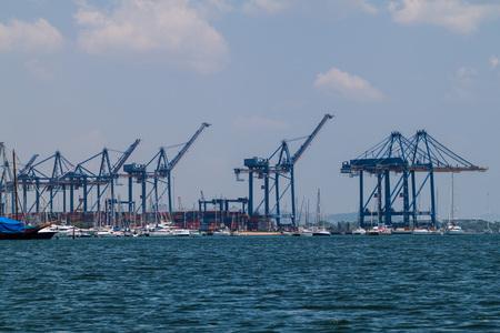 CARTAGENA DE INDIAS, COLOMBIA - AUGUST 29, 2015: Cranes in the port of Cartagena. Editorial
