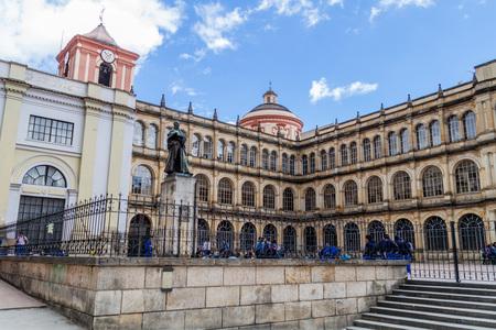 BOGOTA, COLOMBIA - SEPTEMBER 24, 2015: College of St. Bartholomew (Colegio Mayor de San Bartolome) in downtown of Bogota.