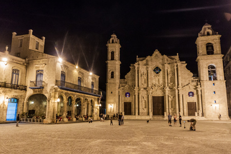 HAVANA, CUBA - FEB 20, 2016: Catedral de San Cristobal on Plaza de la Catedral square in Habana Vieja