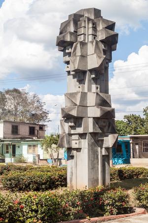 LAS TUNAS, CUBA - JAN 27, 2016: Cubist Monumento al Trabajo (Monument of the work) in Las Tunas