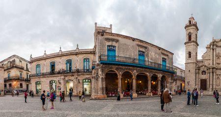 HAVANA, CUBA - FEB 20, 2016: Panorama of Plaza de la Catedral square in Habana Vieja. Stock Photo