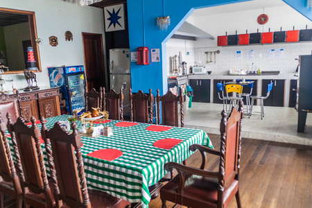 MANIZALES, COLOMBIA - SEPTEMBER 5, 2015: Interior of Mirador Andino hostel in Manizales.