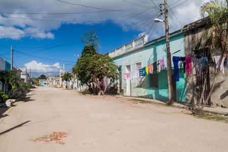 Colorful houses in Camaguey, Cuba