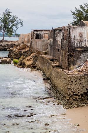 Buildings heavily damaged by hurricane Ike in 2008,  Gibara village, Cuba