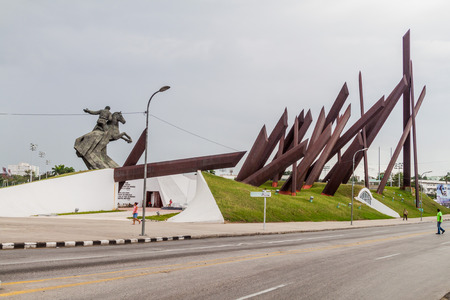 SANTIAGO DE CUBA,  CUBA - FEB 1, 2016: Antonio Maceo monument at Plaza de la Revolucion (Square of the Revolution) in Santiago de Cuba. Editorial