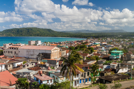 arial view: Arial view of Baracoa, Cuba Stock Photo
