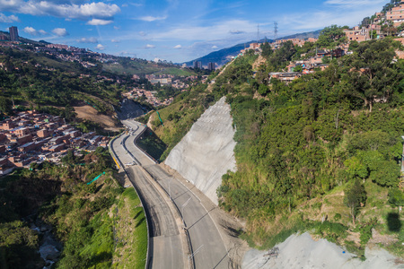 Aerial view of a highway under construction in Medellin, Colombia