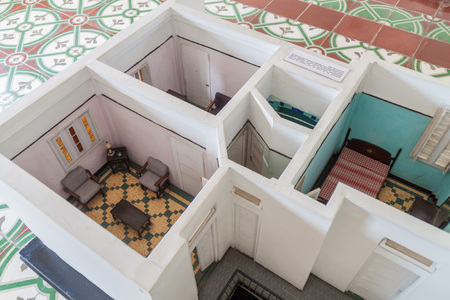 BAYAMO,  CUBA - JAN 30, 2016: Model of a flat where communist consipracy was plotted. Nico Lopez museum.