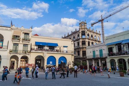 HAVANA, CUBA - FEB 20, 2016: Old colonial buildings on Plaza Vieja square in Havana Vieja Stock Photo