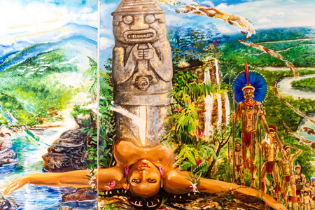 OBANDO, COLOMBIA - SEPTEMBER 14, 2015: Painting depicting an indigenous culture in a museum in Obando near San Agustin, Colombia Editorial