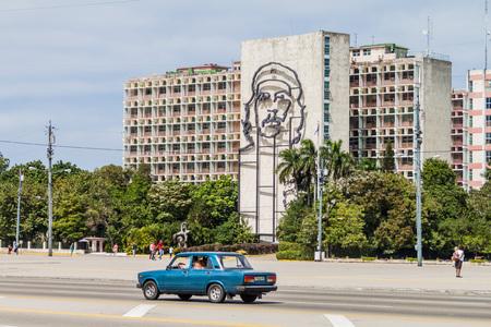 HAVANA, CUBA - FEB 21, 2016: Portrait of Che Guevara on the Ministry of the Interior on Plaza de la Revolucion.