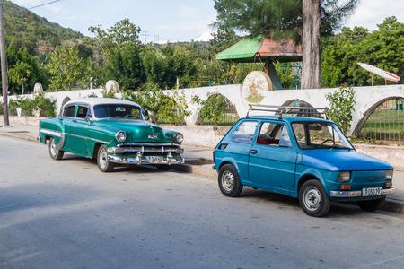 holguin: HOLGUIN, CUBA - JAN 28, 2016: Old cars in Holguin, Cuba Editorial