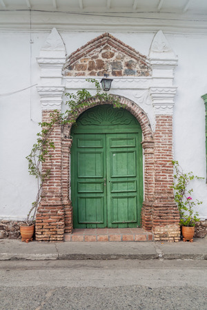 Door of an old colonial house in Santa Fe de Antioquia, Colombia