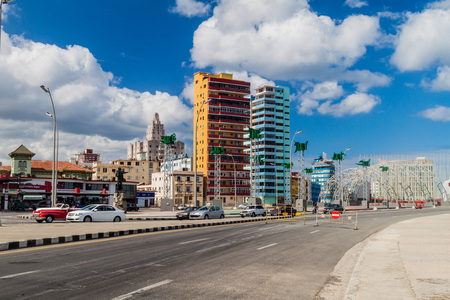 HAVANA, CUBA - FEB 21, 2016: Famous seaside drive Malecon and the Jose Marti Anti-Imperialist Platform across the street from the Embassy of the United States in Havana. Editorial