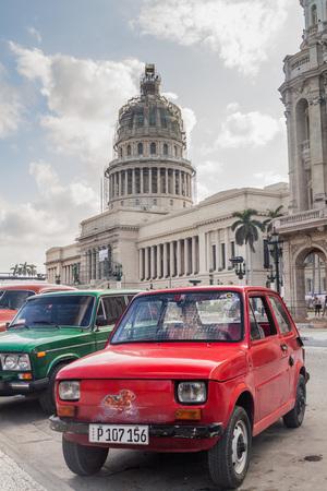HAVANA, CUBA - FEB 20, 2016: Old polish Fiat 126 in front of National Capitol Building in Havana Stock Photo