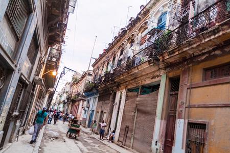 HAVANA, CUBA - FEB 23, 2016: View of a street in Old Havana Editorial