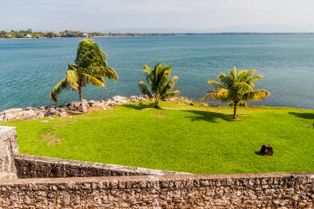 View from Castillo de San Felipe, Spanish colonial fort at the entrance to Lake Izabal in eastern Guatemala