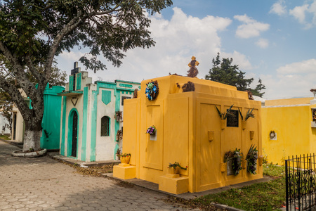 View of tombs on the cemetery in Ciudad Vieja, Guatemala