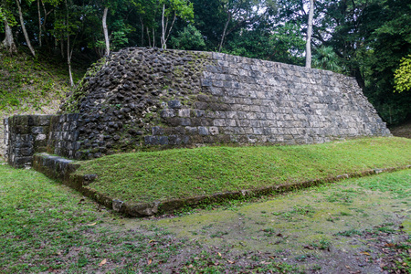 Ruin of a ball court at the archaeological site Yaxha, Guatemala