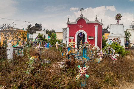CIUDAD VIEJA, GUATEMALA - MARCH 28, 2016: View of tombs on the cemetery.