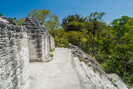 Top of Talud-Tablero temple at the archaeological site Tikal, Guatemala Stock Photo - 78844843