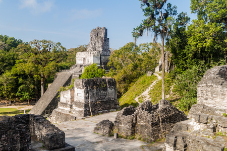 Temple II and Gran Plaza at the archaeological site Tikal, Guatemala Editorial