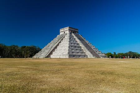 CHICHEN ITZA, MEXICO - FEB 26, 2016: Pyramid Kukulkan in the Mayan archeological site Chichen Itza, Mexico