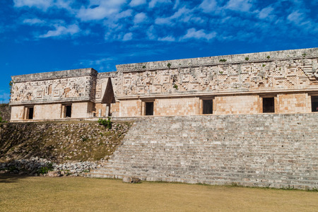 Palacio del Gobernador (Governors Palace) building in the ruins of the ancient Mayan city Uxmal, Mexico