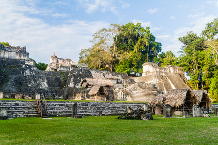 Gran Plaza at the archaelogical site Tikal, Guatemala Stock Photo