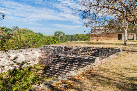 Casa de las Tortugas (House of the Turtles) building (right side) at the ruins of the ancient Mayan city Uxmal, Mexico