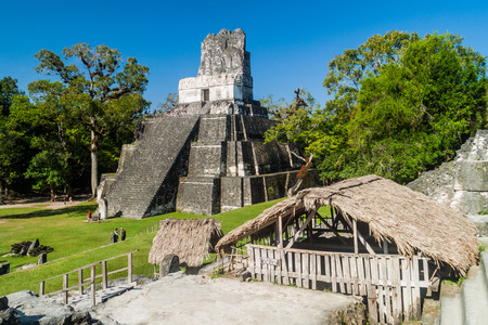 TIKAL, GUATEMALA - MARCH 14, 2016: Tourists visit Grand Plaza at the archaeological site Tikal, Guatemala Stock Photo - 78869388