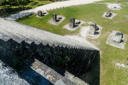Stairway of the pyramid and stelae at Complex Q at the archaeological site Tikal, Guatemala