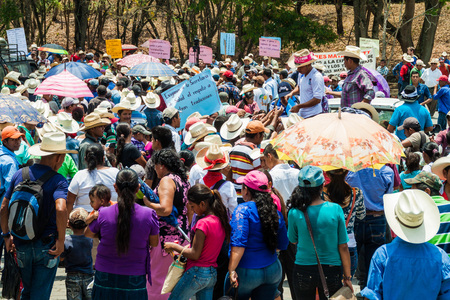COPAN RUINAS, HONDURAS - APRIL 12, 2016: Indigenous people protest against minery near the archaeological park Copan, Honduras Editorial
