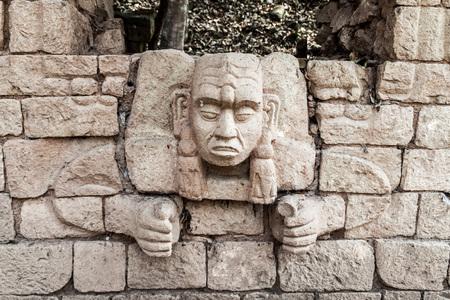Sculpture at the archaeological site Copan, Honduras
