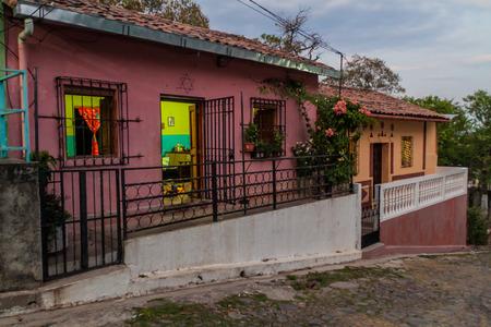 Cobbled street in Suchitoto, El Salvador Stock Photo