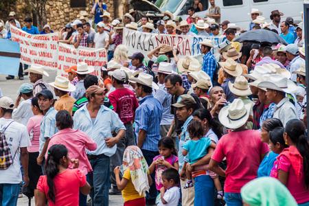 COPAN RUINAS, HONDURAS - APRIL 12, 2016: Indigenous people protest against minery near the archaeological park Copan, Honduras Editorial