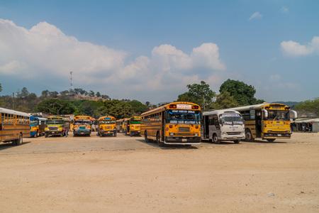 GRACIAS, HONDURAS - APRIL 17, 2016: Buses at the bus terminal in Gracias town.