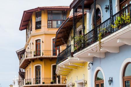 Colonial buildings in Casco Viejo (Old Town) of Panama City Foto de archivo