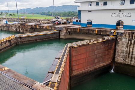 View of Gatun Locks, part of Panama Canal.