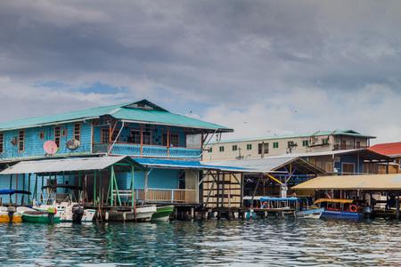 palapa: BOCAS DEL TORO, PANAMA - MAY 21, 2016: View of seaside buildings in Bocas del Toro town. Editorial