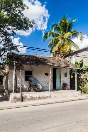 Small dilipitated house in the center of Las Tunas, Cuba